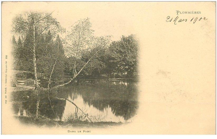 carte postale ancienne 88 PLOMBIERES LES BAINS. Dans le Parc 1902 verso vierge