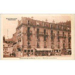 carte postale ancienne 88 PLOMBIERES LES BAINS. Hôtel Restaurant Curin voitures anciennes