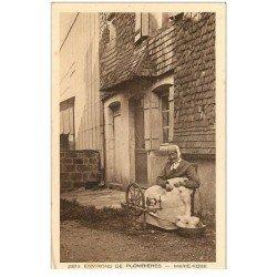 carte postale ancienne 88 PLOMBIERES LES BAINS. La Fileuse Marie Rose et son Rouet. Vieux métiers