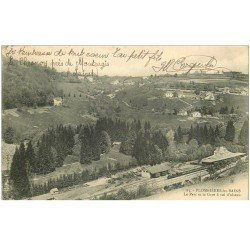 carte postale ancienne 88 PLOMBIERES LES BAINS. La Gare et le Parc 1906