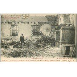 carte postale ancienne 88 SAINT DIE. Magasin de Filée et Tissus Usine Alphonse Lévy. Quartier incendié Guerre 1914-18