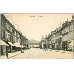 carte postale ancienne 88 SAINT DIE. Rue Thiers 1913 magasin Au Gaspillage