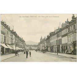carte postale ancienne 88 SAINT DIE. Rue Thiers prise de la Cathédrale 1918