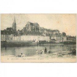 carte postale ancienne 89 AUXERRE. Eglise Saint Germain et Lavandières sur les Quais 1920