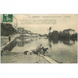 carte postale ancienne 89 AUXERRE. Lavandières sur les Bords de l'Yonne 1913