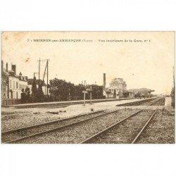 carte postale ancienne 89 BRIENON SUR ARMANCON. Intérieur de la Gare. Timbre enlevé
