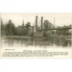 carte postale ancienne 89 CEZY. Pont suspendu Eglise et Moulin