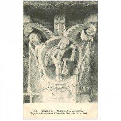 carte postale ancienne 89 VEZELAY. Basilique Pilier Nef