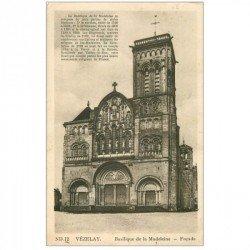 carte postale ancienne 89 VEZELAY. Façade Eglise Madeleine 1940