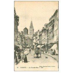 carte postale ancienne 14 LISIEUX. Attelage Grande Rue 1927