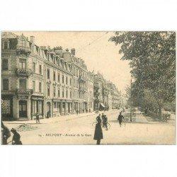 carte postale ancienne 90 BELFORT. Avenue de la Gare 1913