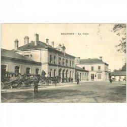 carte postale ancienne 90 BELFORT. La Gare avec Fiacres. Timbre Taxe 1907. Léger et petit pli coin gauche inf.