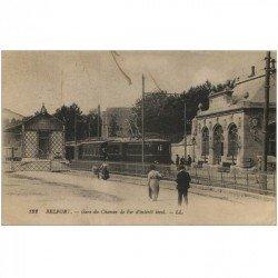 carte postale ancienne 90 BELFORT. La Gare du Chemin de Fer d'intérêt local avec Train 1918