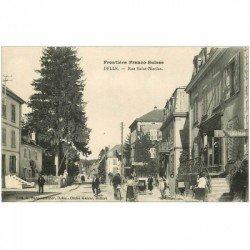 carte postale ancienne 90 DELLE. Pharmacie rue Saint Nicolas. Poussettes et Facteur à vélo