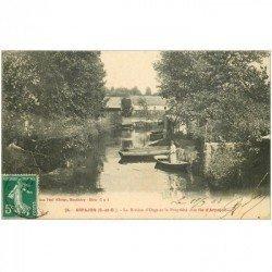 carte postale ancienne 91 ARPAJON. Femme en barque sur Rivière Orge et Propriété Ile Arpajon 1908 Pêcheurs à la ligne en face