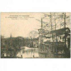 carte postale ancienne 91 ATHIS MONS. Forges et Laminoirs. Chute d'Eau et Rivière d'Orge 1915