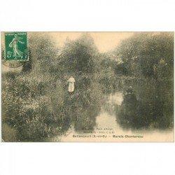carte postale ancienne 91 BALLANCOURT SUR ESSONNE. Rameur sur Marais Chantereau 1911