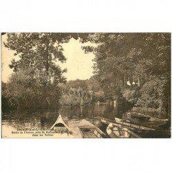 carte postale ancienne 91 BRUNOY. Barques du Restaurant Bonnefoy dans les Vallées 1943