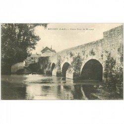 carte postale ancienne 91 BRUNOY. Vieux Pont de Boussy Café Billard