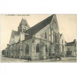 carte postale ancienne 91 ETAMPES. Eglise Sainte Basile avec Cabriolet