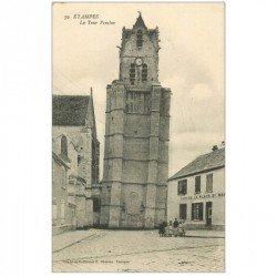 carte postale ancienne 91 ETAMPES. La Tour Penchée et Café de la Place