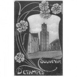 carte postale ancienne 91 ETAMPES. La Tour Penchée et Café de la Place 1907