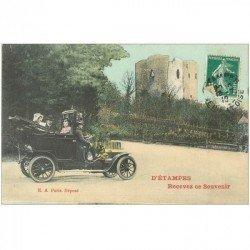 carte postale ancienne 91 ETAMPES. Superbe voiture ancienne avec Chauffeur 1910. Carte montage