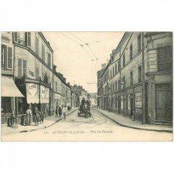 carte postale ancienne 93 AUBERVILLIERS. Boucherie Rue du Moutier Epicerie Bijouterie et Tabac
