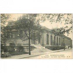 carte postale ancienne 93 AUBERVILLIERS. Enfants au Square et Salle des Fêtes 1918