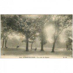 carte postale ancienne 93 AUBERVILLIERS. Un coin du Square. Timbre manquant