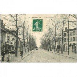 carte postale ancienne 93 BAGNOLET. La Rue de Paris Tabac Bar l'Espérance 1916. Rue qui reliait Porte de Bagnolet à la Mairie