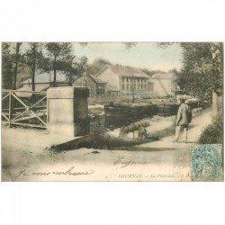 carte postale ancienne 93 GOURNAY SUR MARNE. Péniches devant la Pâtrière 1906