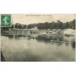 carte postale ancienne 93 GOURNAY SUR MARNE. Quai de Chétivet avec Pêcheurs sur barques