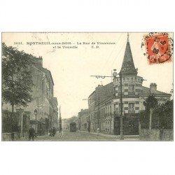 carte postale ancienne 93 MONTREUIL. Rue de Vincennes et Tourelle 1908