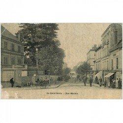 carte postale ancienne 93 SAINT DENIS. Attelage Ane Rue Méchin 1907. En l'état...