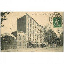 carte postale ancienne 93 SAINT DENIS. Avenue de Paris 1913 Maison Vizet et Hôtel Moderne