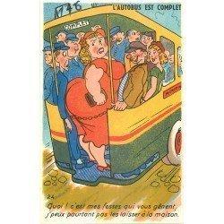 Carte Fantaisie humoristique. L'Autobus est complet...