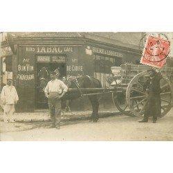 93 LES LILAS. Attelage de livraisons devant Café Tabac Lagarde 19 rue du Tapis Vert 1909