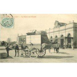 14 CAEN. Gare de l'Ouest attelage Grand Bazar Parisien pour vente de lingerie trousseau 1905