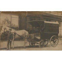 PARIS IX. Attelage et Camionnette de livraisons Clémençon 23 rue Lamartine. 2 Photos cartes postales collées dos à dos vers 1910