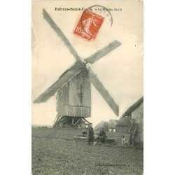 60 ESTREES-SAINT-DENIS. Le Moulin Brûlé 1910 animation personnages et chien