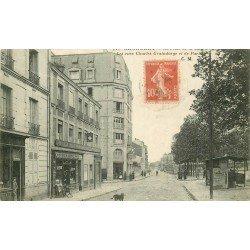 """93 Bagnolet. Place de la Mairie. Café Restaurant """" Le Bal Perdu """" rue Graindorge et rue de Paris 1924"""