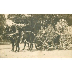 06 NICE. Rare Photo Carte Postale bel attelage pour Bataille de Fleurs