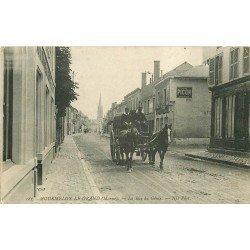 51 MOURMELON LE GRAND. Attelage militaire Rue du Génie et Café Français Rue Saint Martin 1914