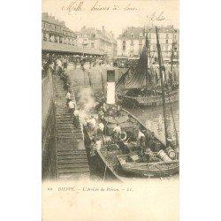76 DIEPPE. L'Arrivée du Poisson 1903. Pêcheurs et bateaux de Pêche. Métiers de la mer