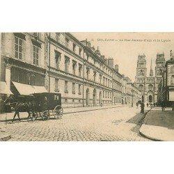 45 ORLEANS. Attelage devant la Fabrique de parapluies et le Lycée 1906