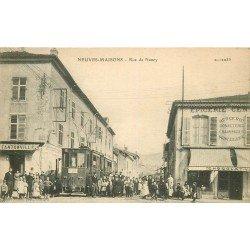54 NEUVES MAISONS. Train Tramway Rue de Nancy Epicerie Centrale et Café 1917