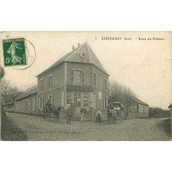 27 SEBECOURT. Attelages devant le Café Crémerire Lemoulle sur Route du Fidelaire