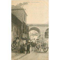 56 AURAY. Marin et Attelage devant de Vieilles Maisons vers 1900