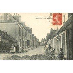 72 CONNERRE. Ouvriers Paveurs Terrassiers Cantonniers Rue Nationale 1908